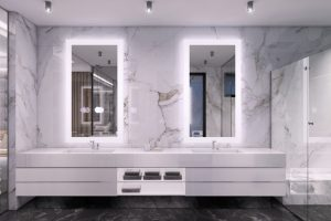 Led Lighting luxury double sink and mirrors with lights
